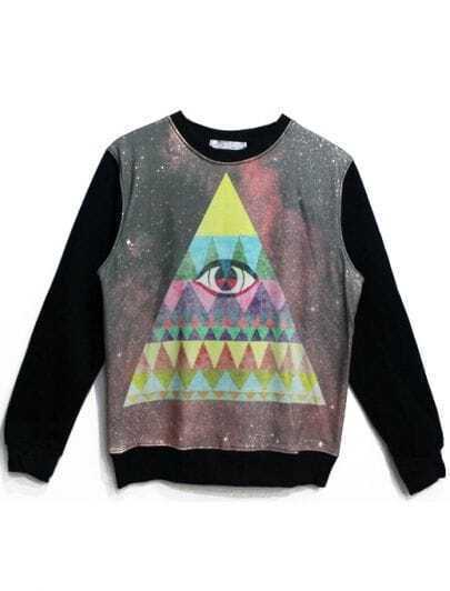 Black Long Sleeve Eye Triangle Print Sweatshirt