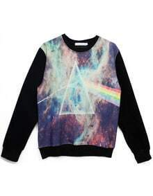 Black Long Sleeve Triangle Rainbow Print Sweatshirt