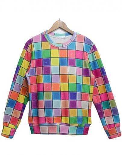 Multi Long Sleeve Plaid Loose Sweatshirt