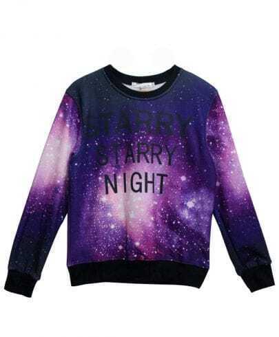 Purple Long Sleeve Galaxy Letters Print Sweatshirt