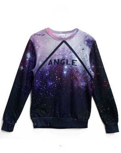 Purple Long Sleeve Galaxy ANGLE Print Sweatshirt