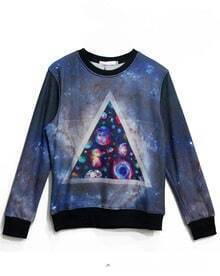Blue Long Sleeve Triangle Planet Print Sweatshirt