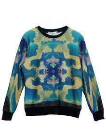 Blue Long Sleeve Sky Swirl Print Sweatshirt