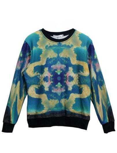 Blue Long Sleeve Sky Swirl Print Sweatshirt