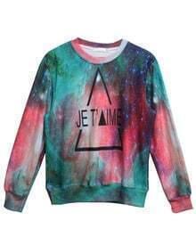 Green Long Sleeve Galaxy JET Print Sweatshirt