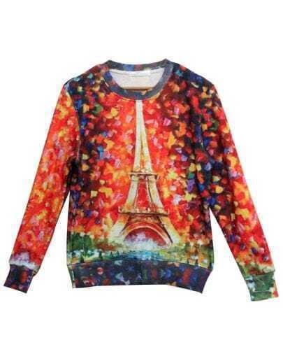 Orange Long Sleeve Eiffel Tower Print Sweatshirt