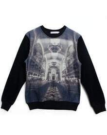 Black Long Sleeve Palace Print Sweatshirt