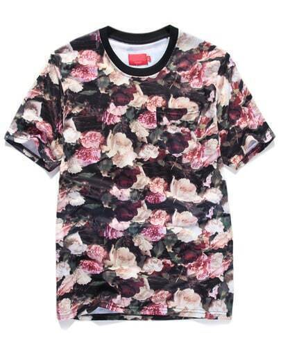 Black Short Sleeve Rose Print Pocket T-Shirt