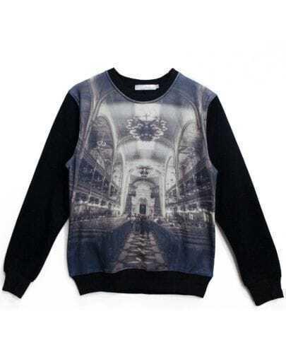 Black Long Sleeve Palace Print Sweatshirt