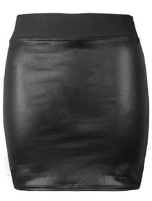 Black Elastic Bodycon PU Leather Skirt