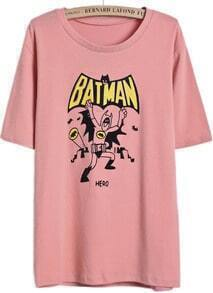 Pink Short Sleeve BATMAN Print T-Shirt