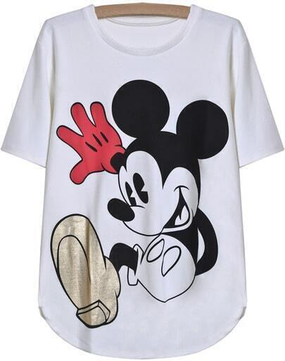 White Short Sleeve Mickey Print T-Shirt