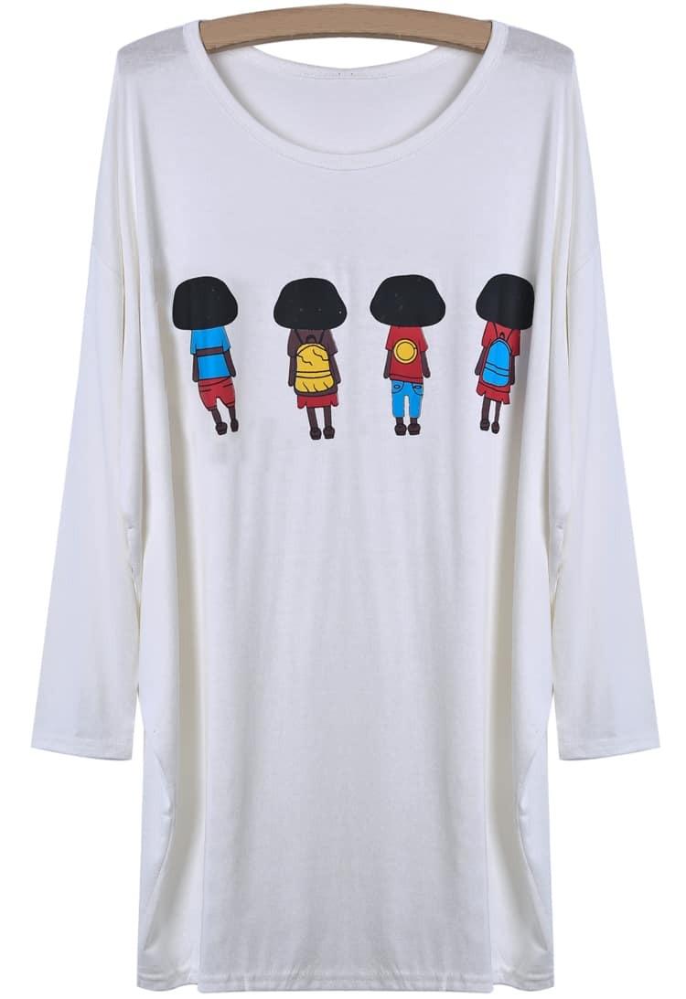 T Shirts Cartoon Characters : White batwing long sleeve cartoon characters print t shirt