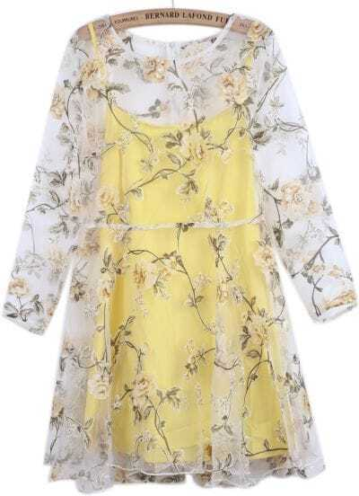 Yellow Long Sleeve Floral Organza Two Pieces Dress