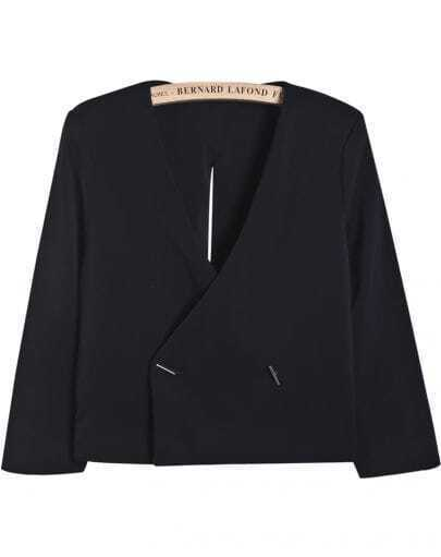 Black V Neck Backless Split Crop Blazer