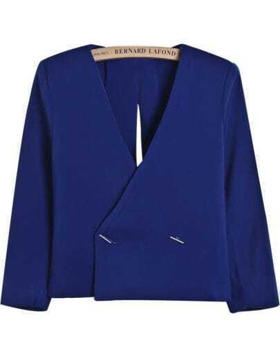 Blue V Neck Backless Split Crop Blazer