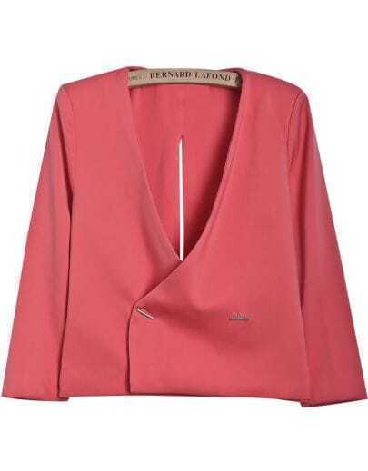 Red V Neck Backless Split Crop Blazer