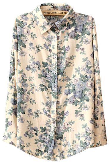 Beige Lapel Long Sleeve Floral Loose Blouse