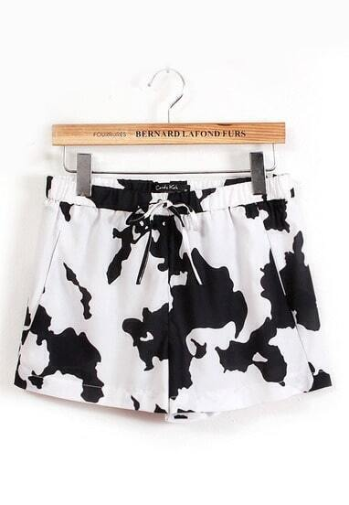 Black White Drawstring Waist Cows Print Shorts
