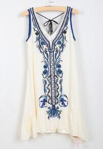 White Sleeveless Tribal Embroidered Ruffle Dress