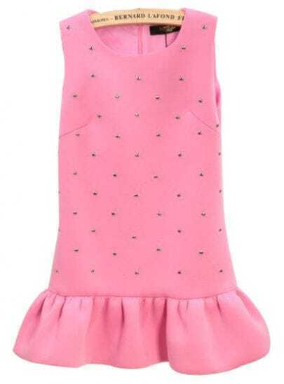 Pink Sleeveless Rivet Ruffle Tank Dress