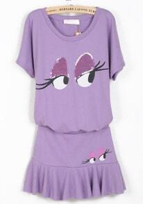Purple Short Sleeve Sequined Eye Print Top With Skirt