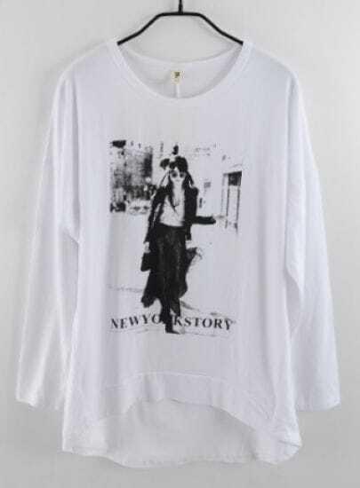 White Long Sleeve Beauty Print Loose T-Shirt
