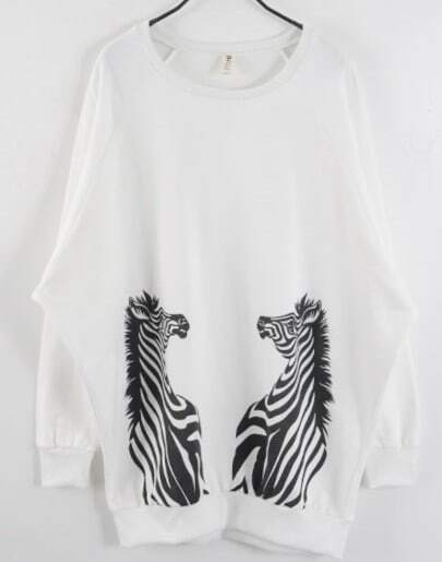 White Long Sleeve Zebra Print Loose Sweatshirt