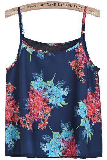 Blue Spaghetti Strap Floral Vest