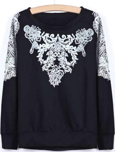 Black Long Sleeve Flock Floral Loose Sweatshirt