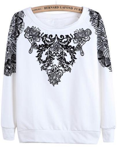 White Long Sleeve Flock Floral Loose Sweatshirt