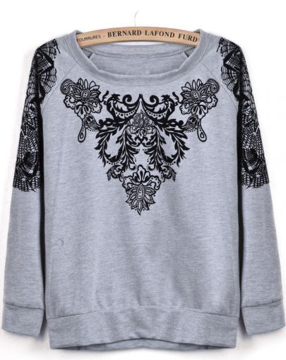 Grey Long Sleeve Flock Floral Loose Sweatshirt