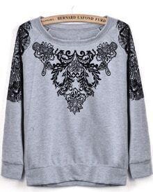 Grey Long Sleeve Flock Floral Loose Sweatshirt