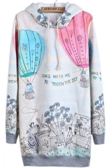 Beige Hooded Long Sleeve Balloon Print Sweatshirt