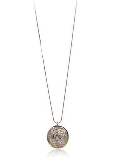 Gold Diamond Round Necklace
