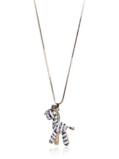 Gold Diamond Zebra Necklace