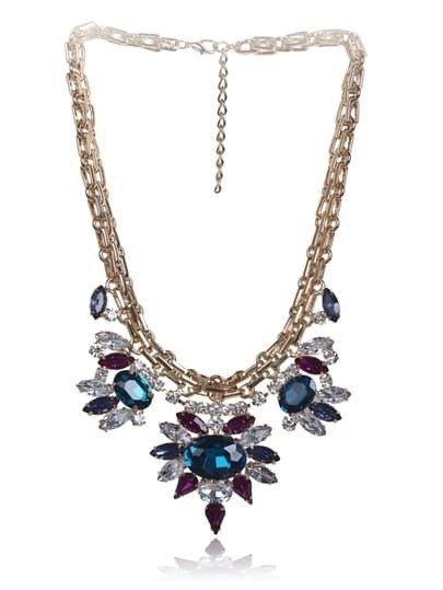 Multi Gemstone Gold Multilayer Chain Necklace