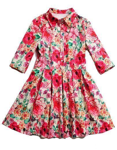 Beige Half Sleeve Floral Slim Pleated Dress