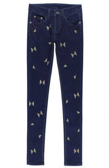 Blue Butterfly Embroidered Denim Pant