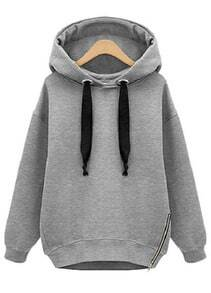 Grey Hooded Long Sleeve Drawstring Loose Sweatshirt