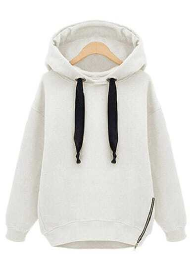 Sudadera suelta con capucha manga larga-blanco