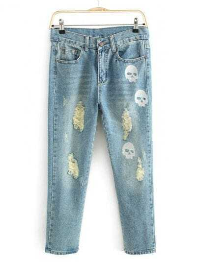 Blue Bleached Ripped Skull Print Denim Pant