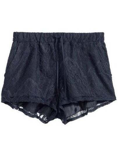Black Elastic Waist Lace Shorts