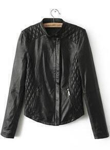 Black Long Sleeve Diamond Patterned PU Lether Jacket