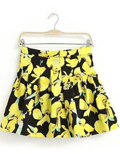 Black Yellow Bow Print Pleated Skirt