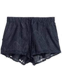Black Elastic Waist Lace Shorts