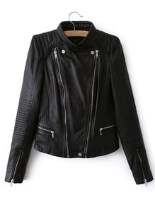Faux Leather Moto Zip Jacket -SheIn(Sheinside)
