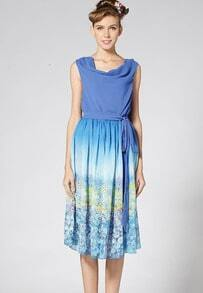 Blue Sleeveless Heaps Collar Floral Pattern Dress