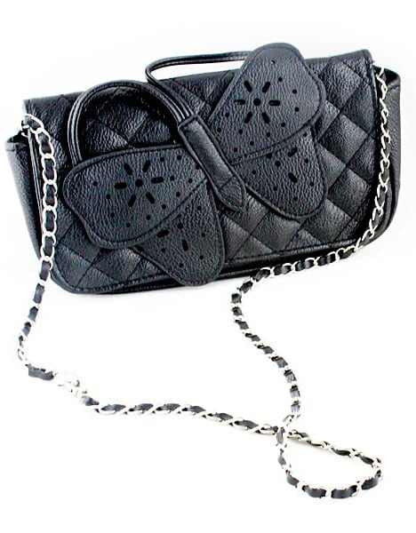 Black Butterfly Diamond Patterned Clutches Bag