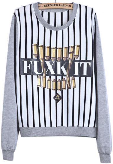 Grey Long Sleeve Vertical Stripe FUXK IT Print Sweatshirt